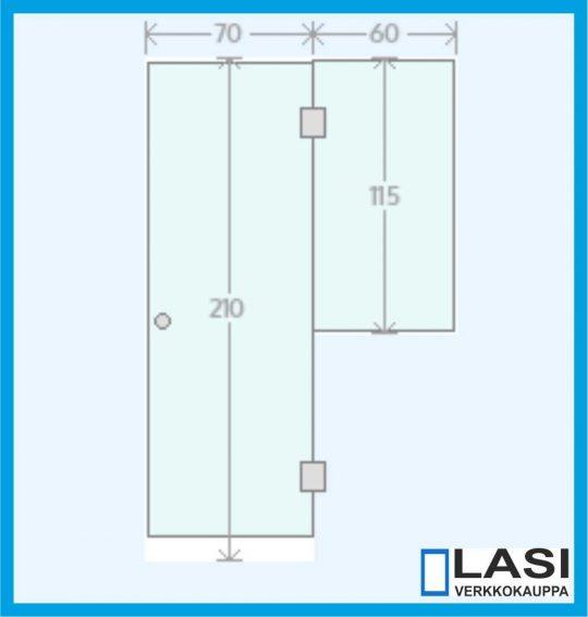 Saunan lasiseinä malli 3