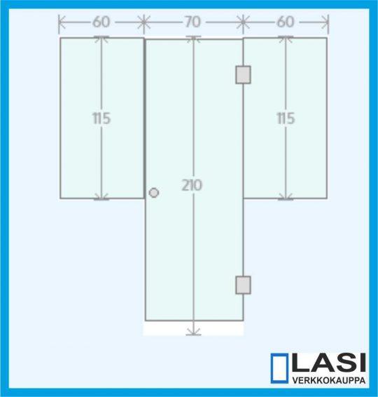 saunan lasiseinä kahdella kiinteällä lasilla