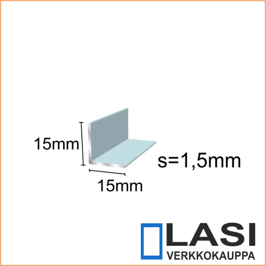 alumiini kulma 15x15mm