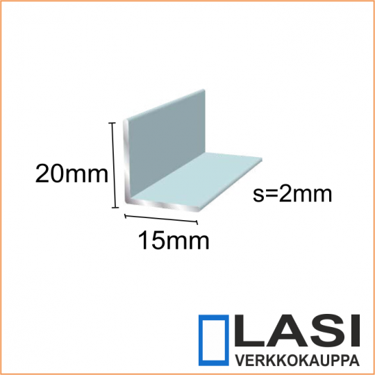 alumiini kulma 15x20mm