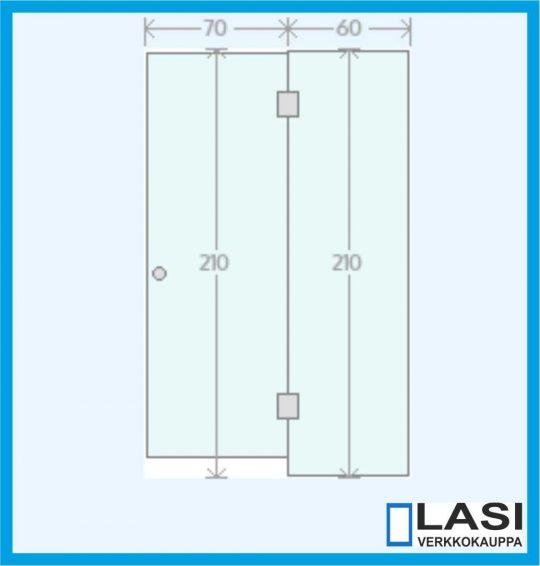 Saunan lasiseinä. Lasiovi + korkea lasi oikealla-0